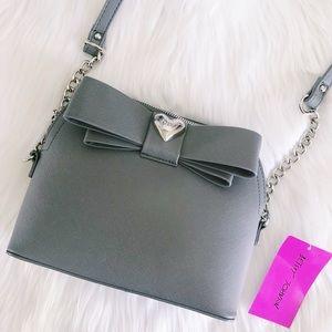 🆕NWT Betsy Johnson Grey Bow Crossbody Bag